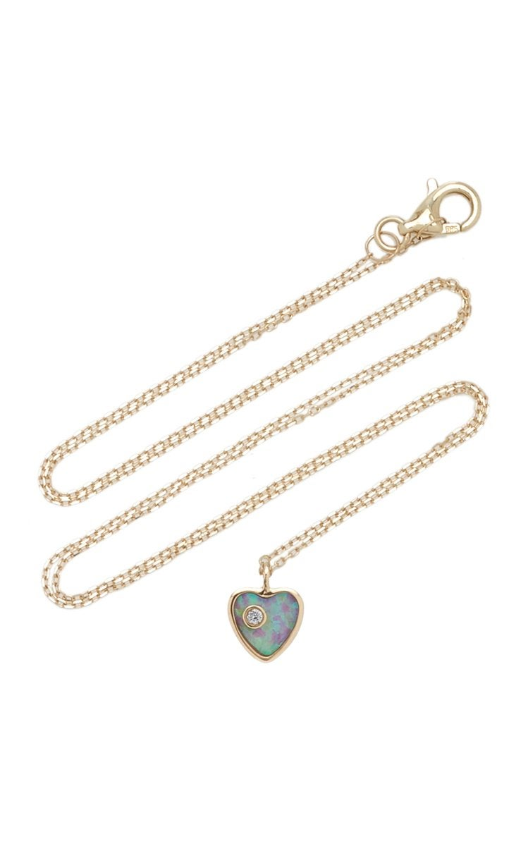 Pamela Love Heart 14K Yellow Gold Opal, Diamond Necklace