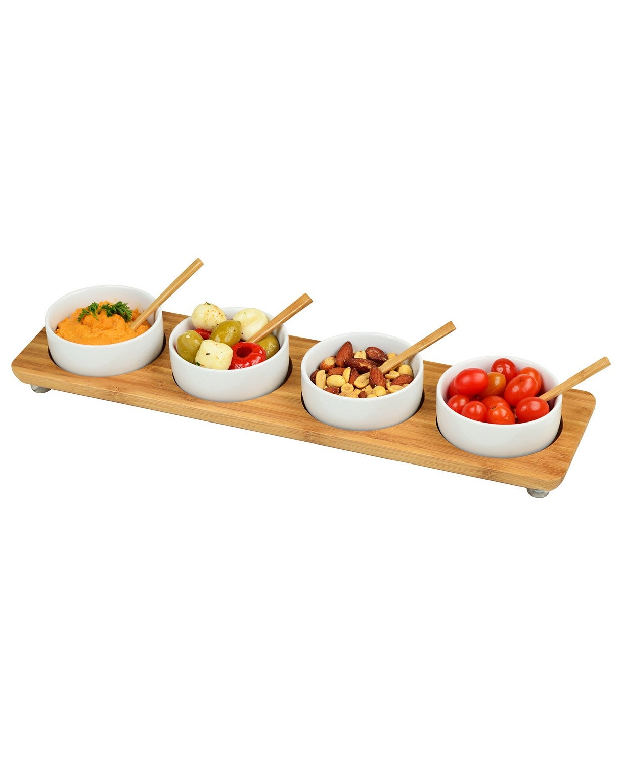 Picnic At Ascot Bamboo Divided Serving Platter with 4 Bowls and 4 Bamboo Spoons