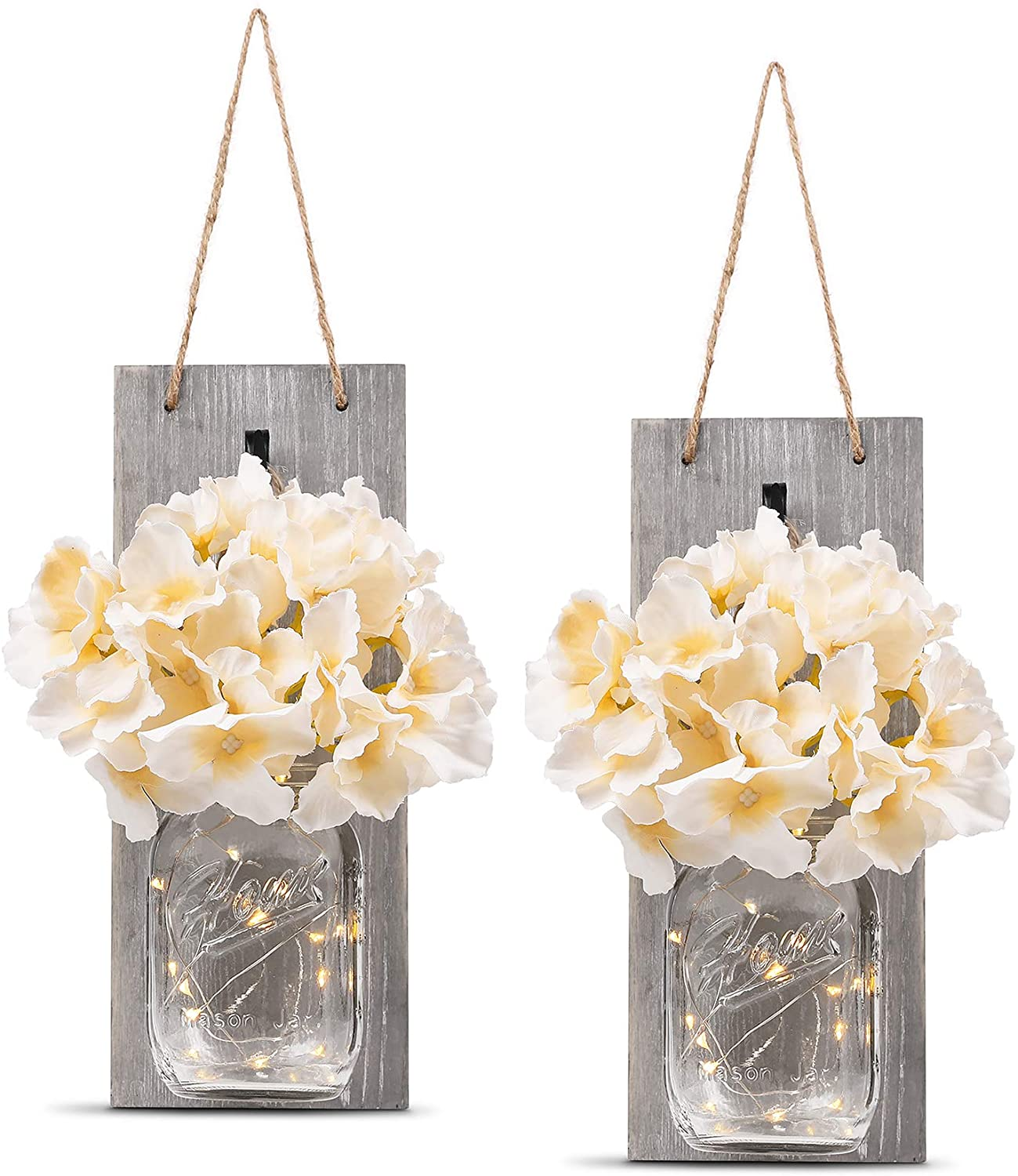 Rustic Wall Sconces - Mason Jars Sconce, Rustic Home Decor,Wrought Iron Hooks, Silk Hydrangea and LED Strip Lights Design 6 Hour Timer Home Decoration
