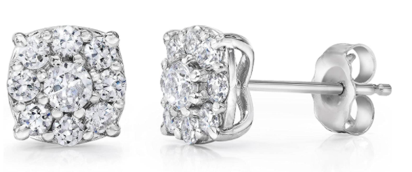 1 Carat Halo Diamond Studs 14K White Gold P3 POMPEII3