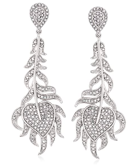 Ross-Simons 1.00 ct. t.w. Diamond Feather Drop Earrings in Sterling Silver