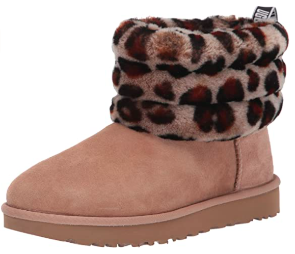 UGG Women's Fluff Mini Quilted Leopard Boot