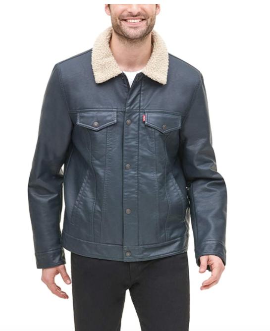 Levi's Men's Faux Leather Sherpa Lined Trucker Jacket