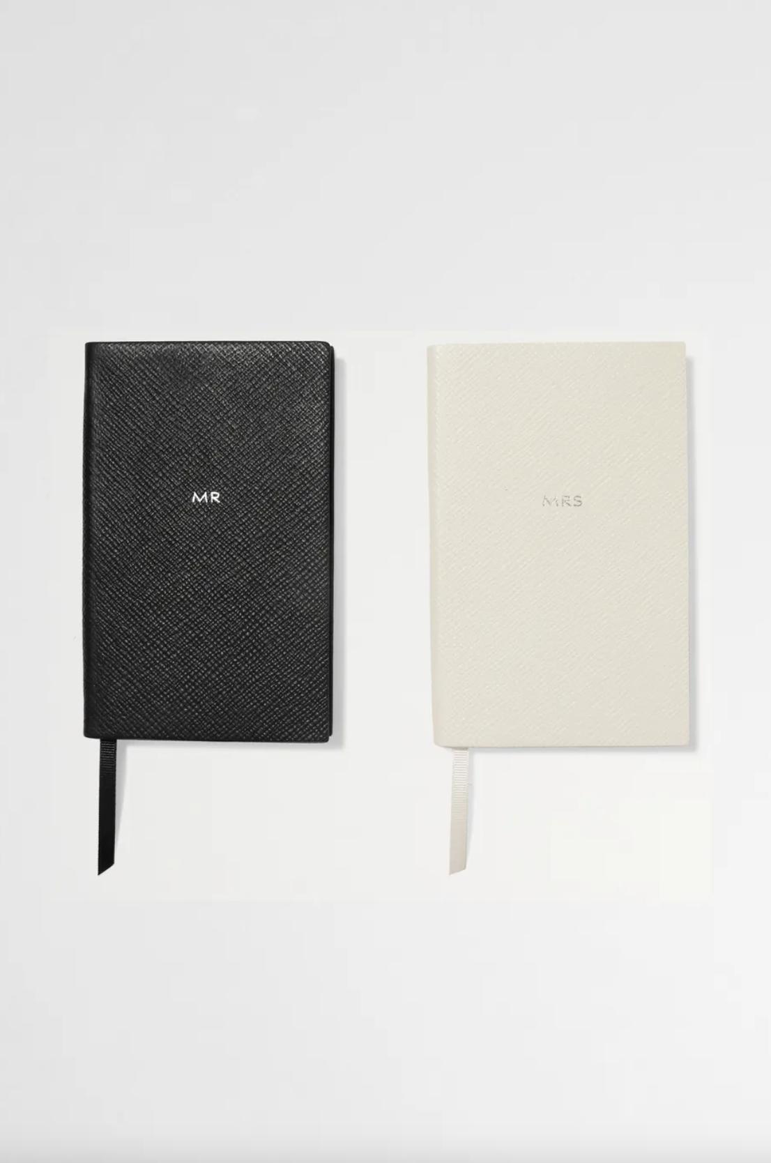 Smythson Set of two Panama Mr & Mrs textured-leather notebooks