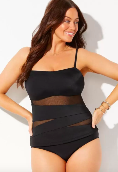 Swimsuits For All Mesh Wrap Bandeau Tankini Set