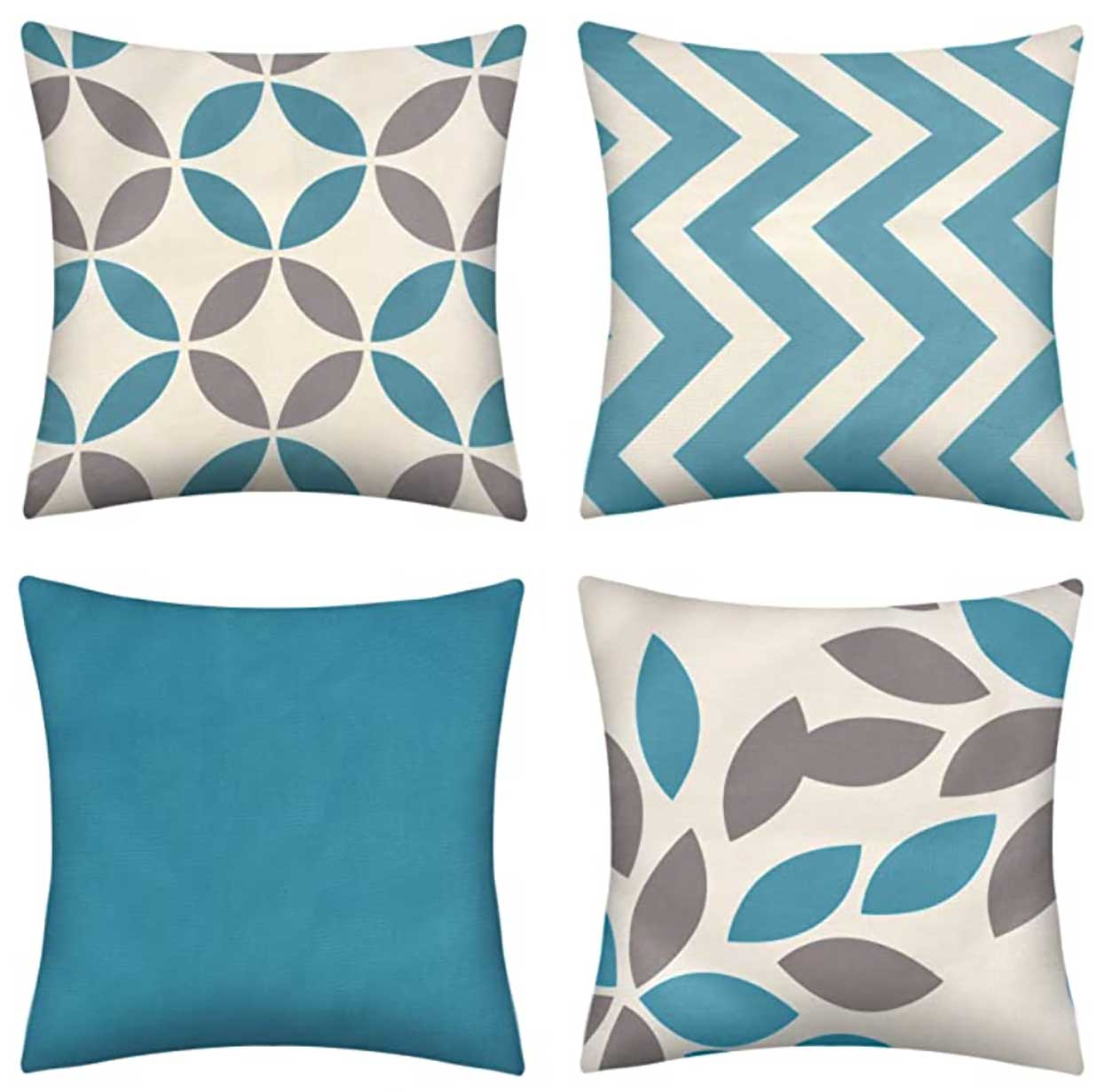 Throw pillow covers with geometric shapes