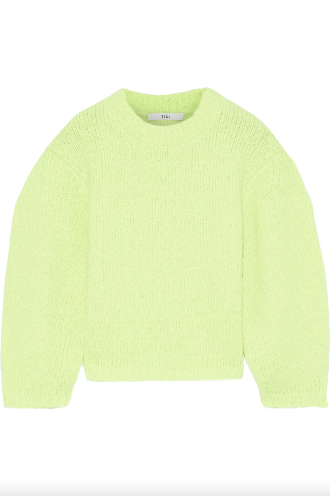 Tibi Cozette cropped neon alpaca-blend sweater