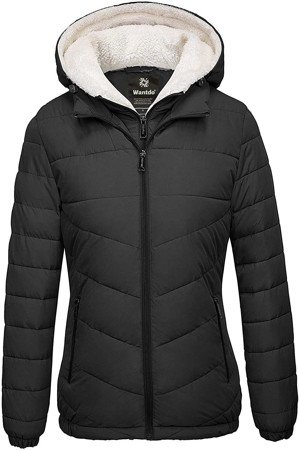 Wantdo Women's Quilted Winter Coats Hooded Warm Puffer Jacket with Fleece Hood