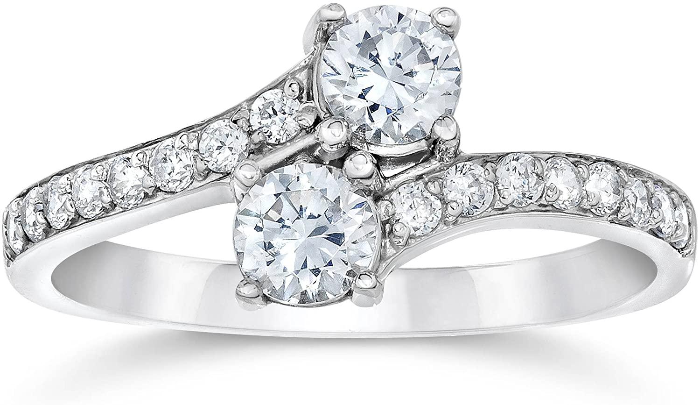 P3 POMPEII3 1 Carat Forever Us Diamond Two Stone Engagement Ring 10K White Gold