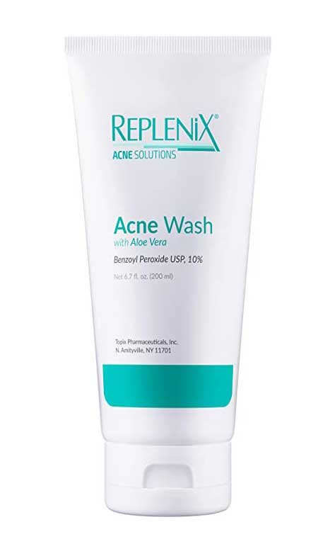Replenix Benzoyl Peroxide Wash with Aloe Vera, Advanced Acne Cleanser for Face and Body