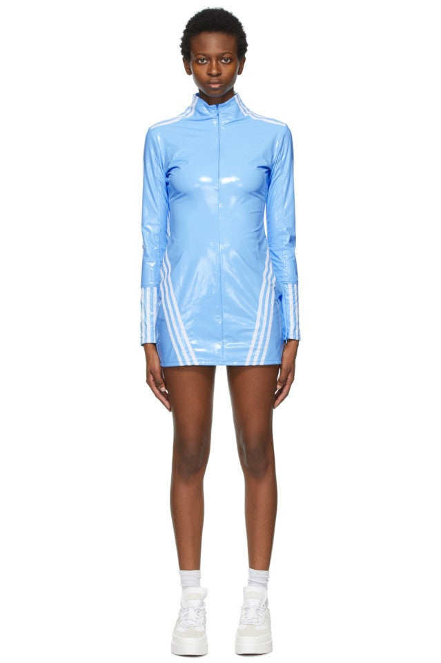 Adidas x Ivy Park Blue Latex Full-Zip Dress