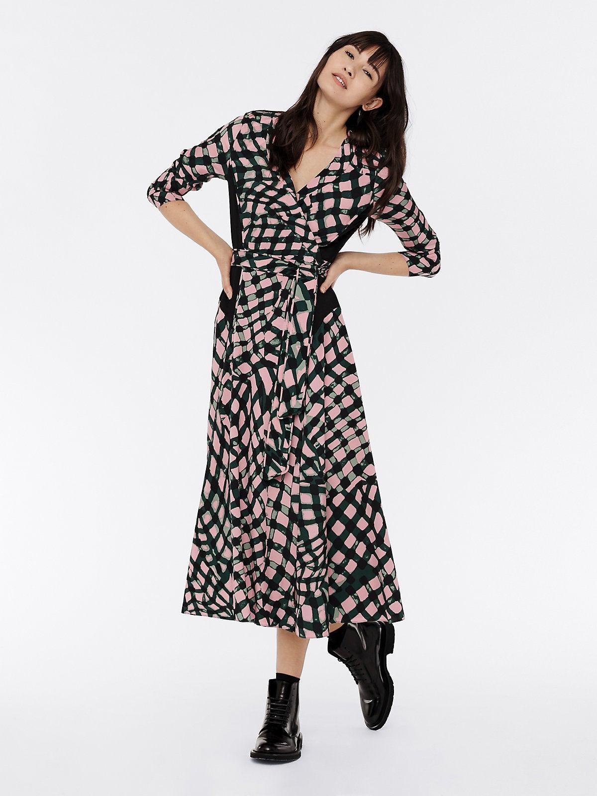 DVF Mindy Silk Crepe De Chine Midi Wrap Dress
