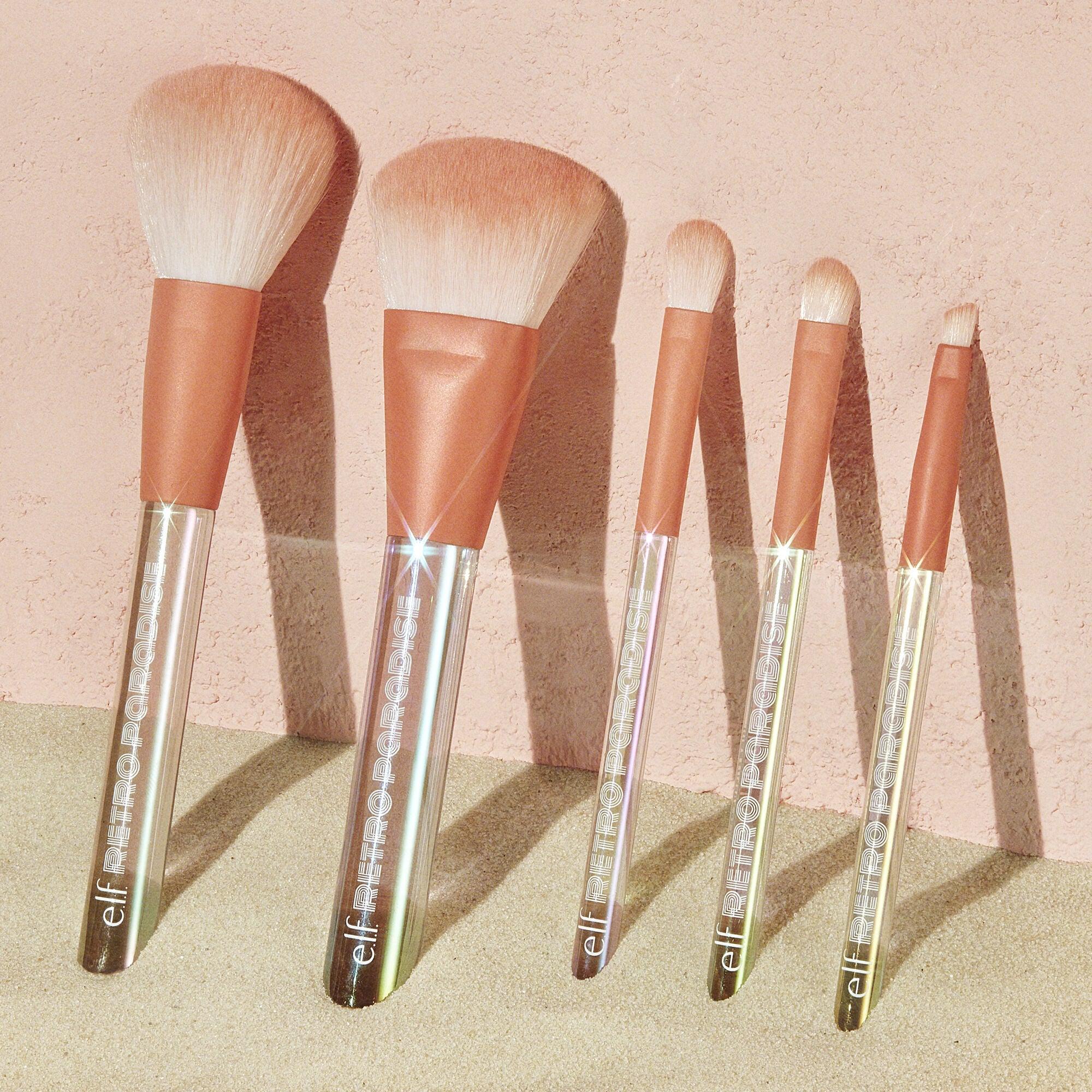 elf cosmetics retro paradise 5 piece brush set