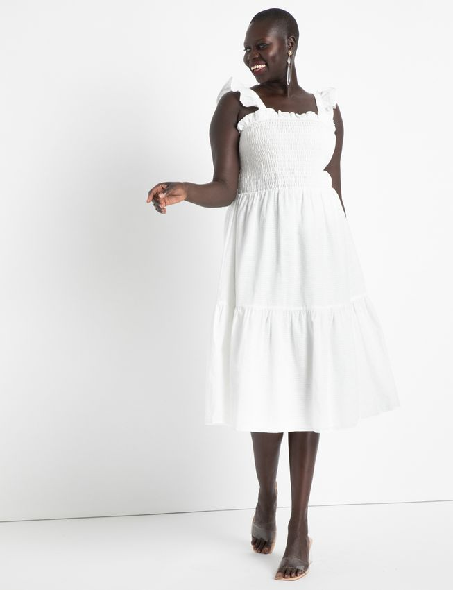 Eloquii Smocked Bodice Ruffle Day Dress