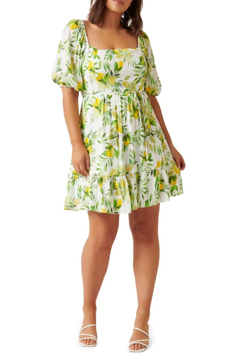Ever New Lemon Print Babydoll Dress