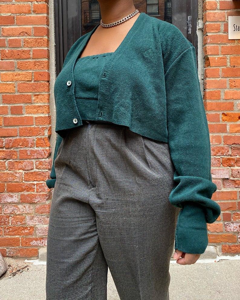 Fyre Vintage Vintage Izod Green Crop Cardigan Set