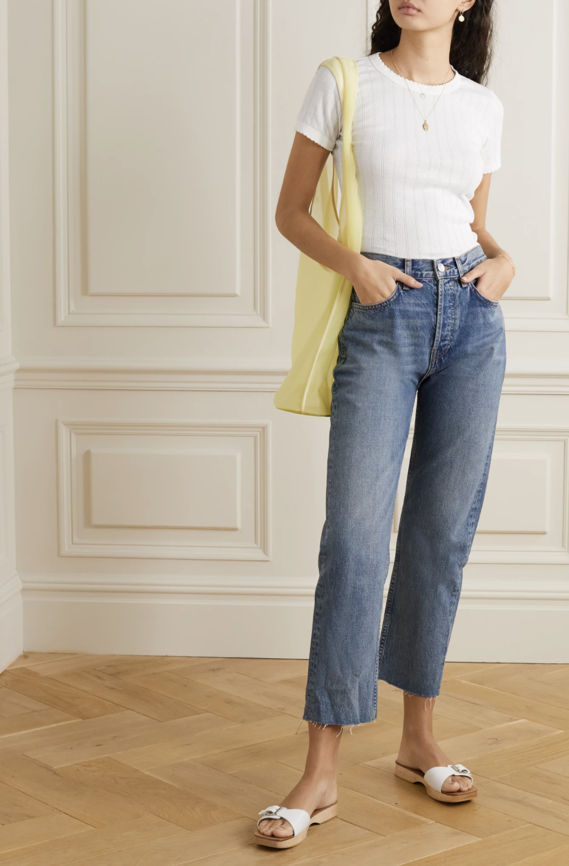 Leset Pointelle-knit cotton-jersey T-shirt