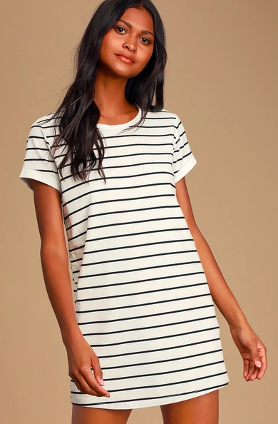 Lulus Cafe Society Black and Cream Striped Shirt Dress