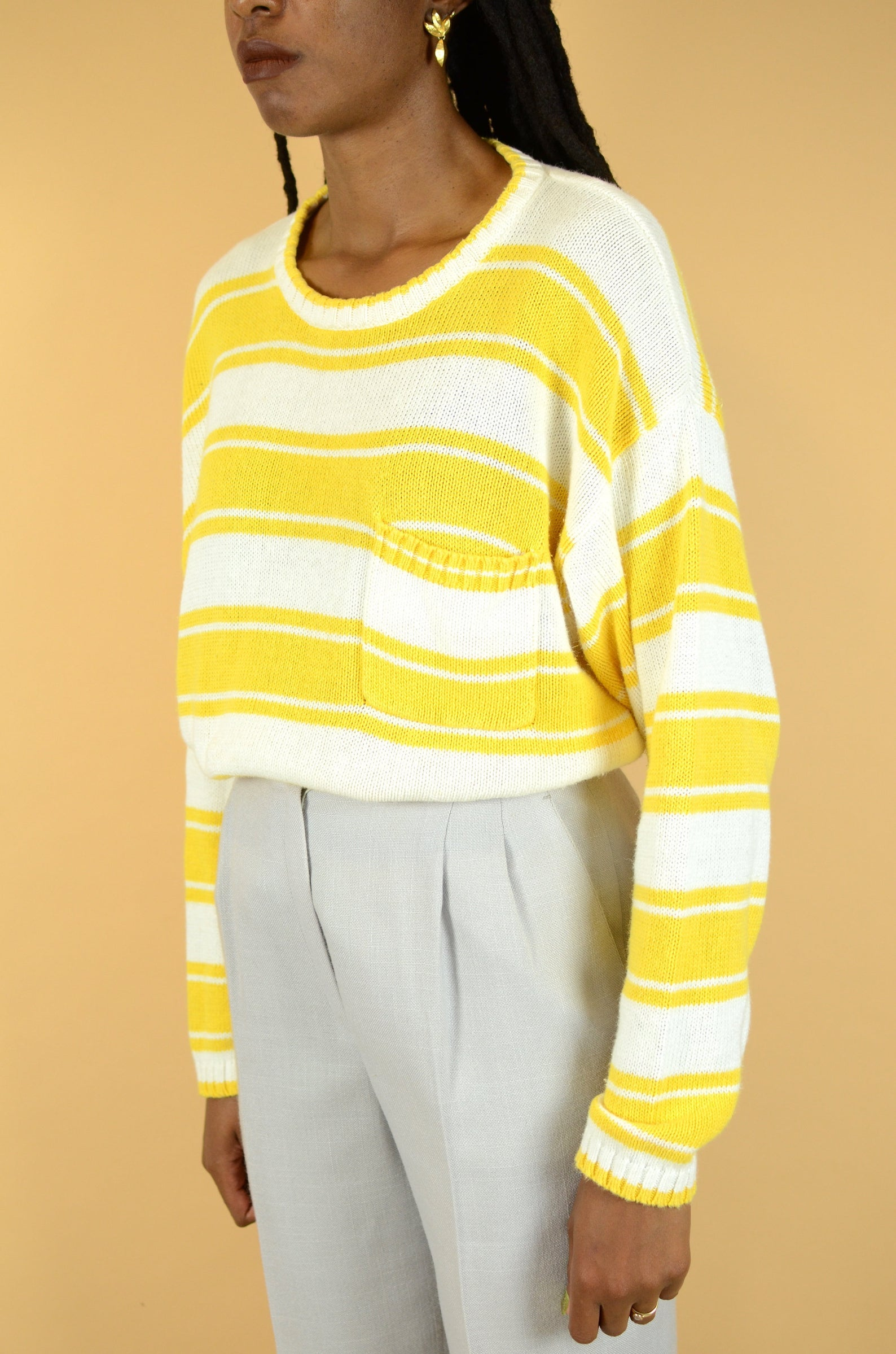 MAW SUPPLY Vintage Yellow Striped Knit Pullover Sweater