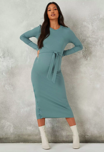 Missguided Blue Rib Belted Maternity Midaxi Dress
