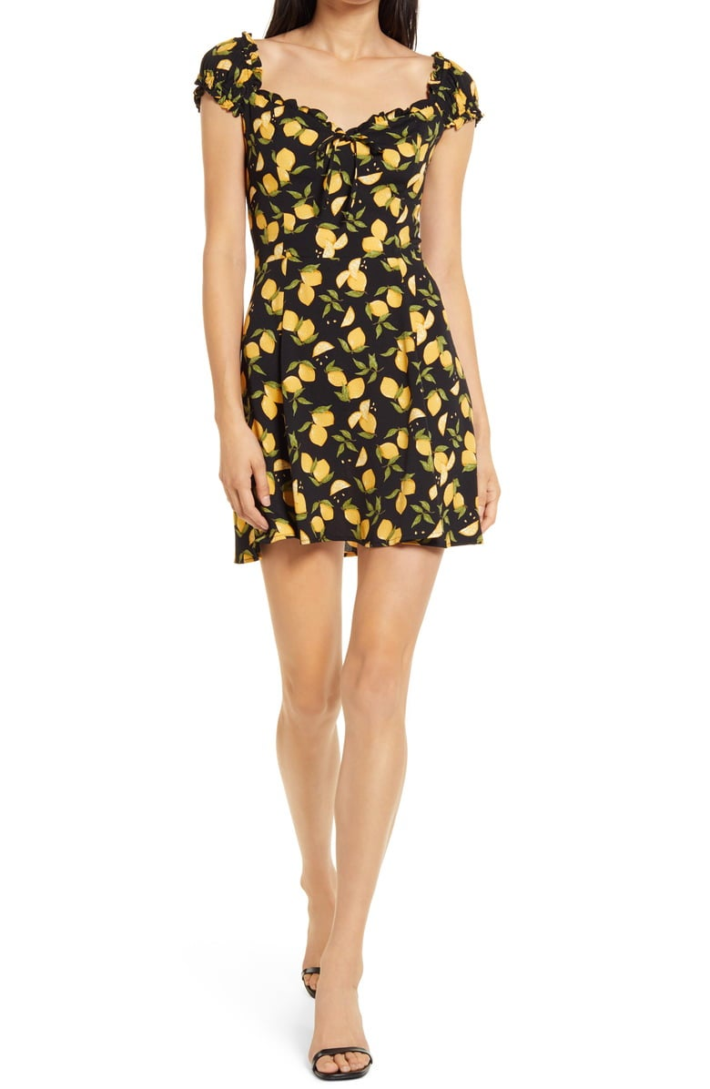 Reformation Pacey Lemon Print Minidress