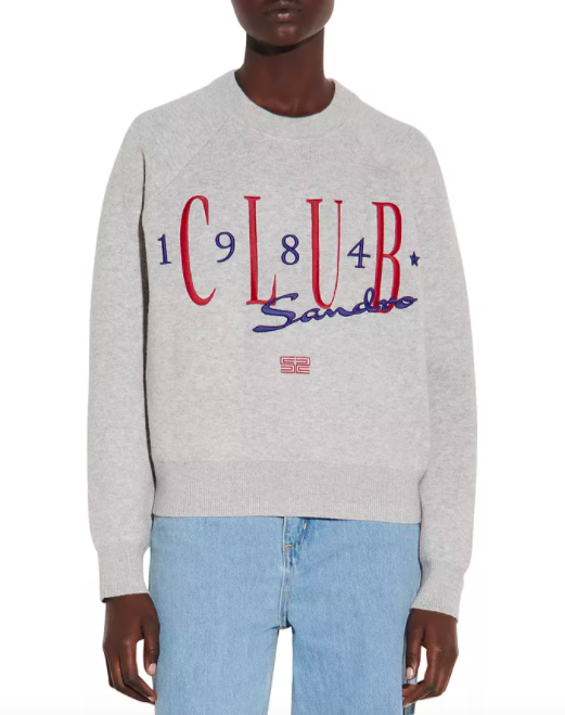Sandro Clubs Sweatshirt Style Sweater With Embroidery