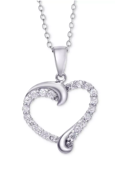 Macy's Diamond Swirl Heart Pendant Necklace (1/2 ct. t.w.)