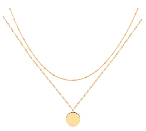 Mevecco Layered Necklace Pendant Handmade 18k Gold Plated