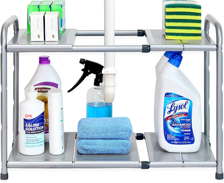 SimpleHouseware Under Sink 2 Tier Expandable Shelf