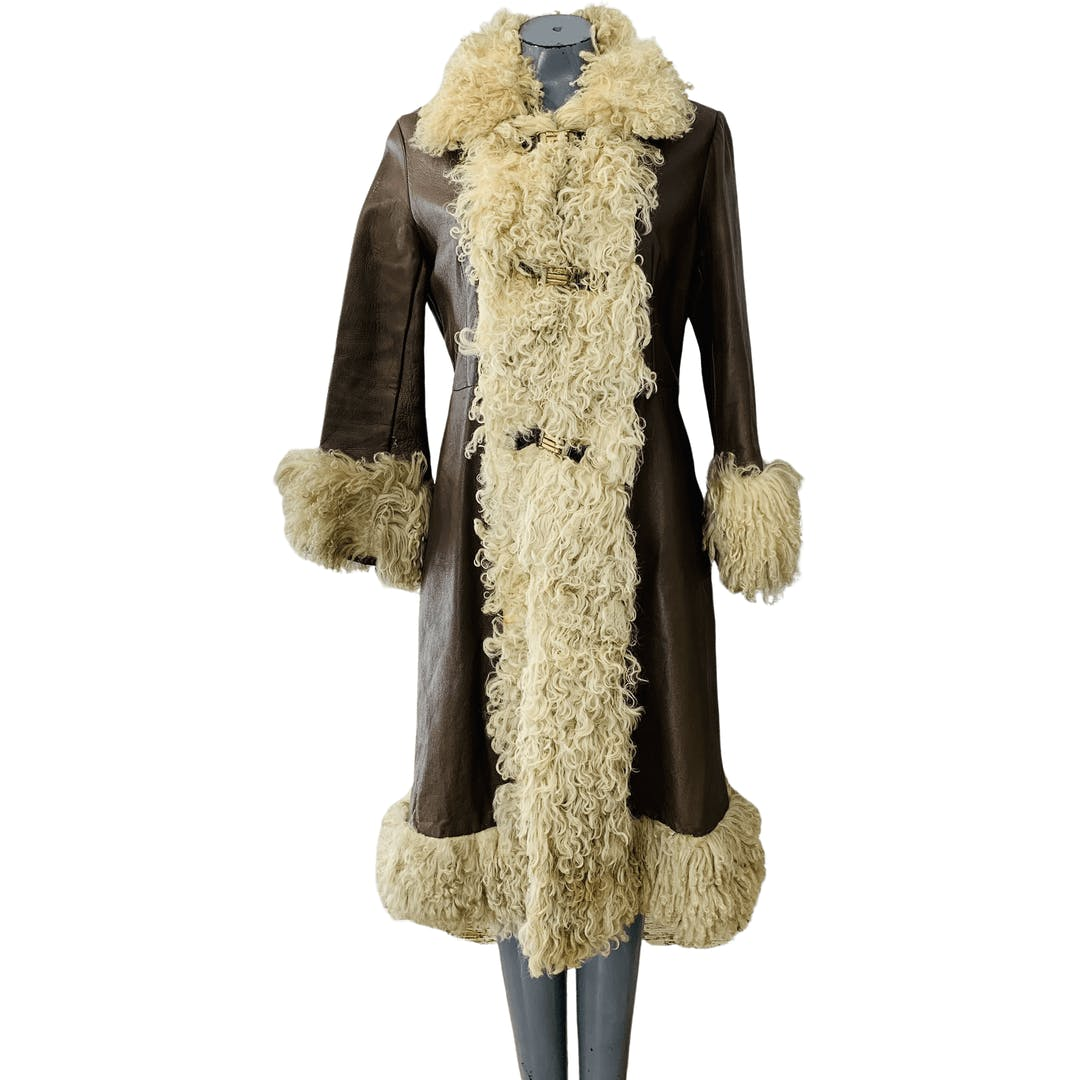 Thrilling 70's Leather and Fur Penny Lane Style Coat