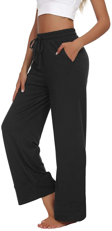 UEU Women's Wide Leg Yoga Pants Drawstring Workout Lounge Pants Comfy Pajamas Pants with Pockets