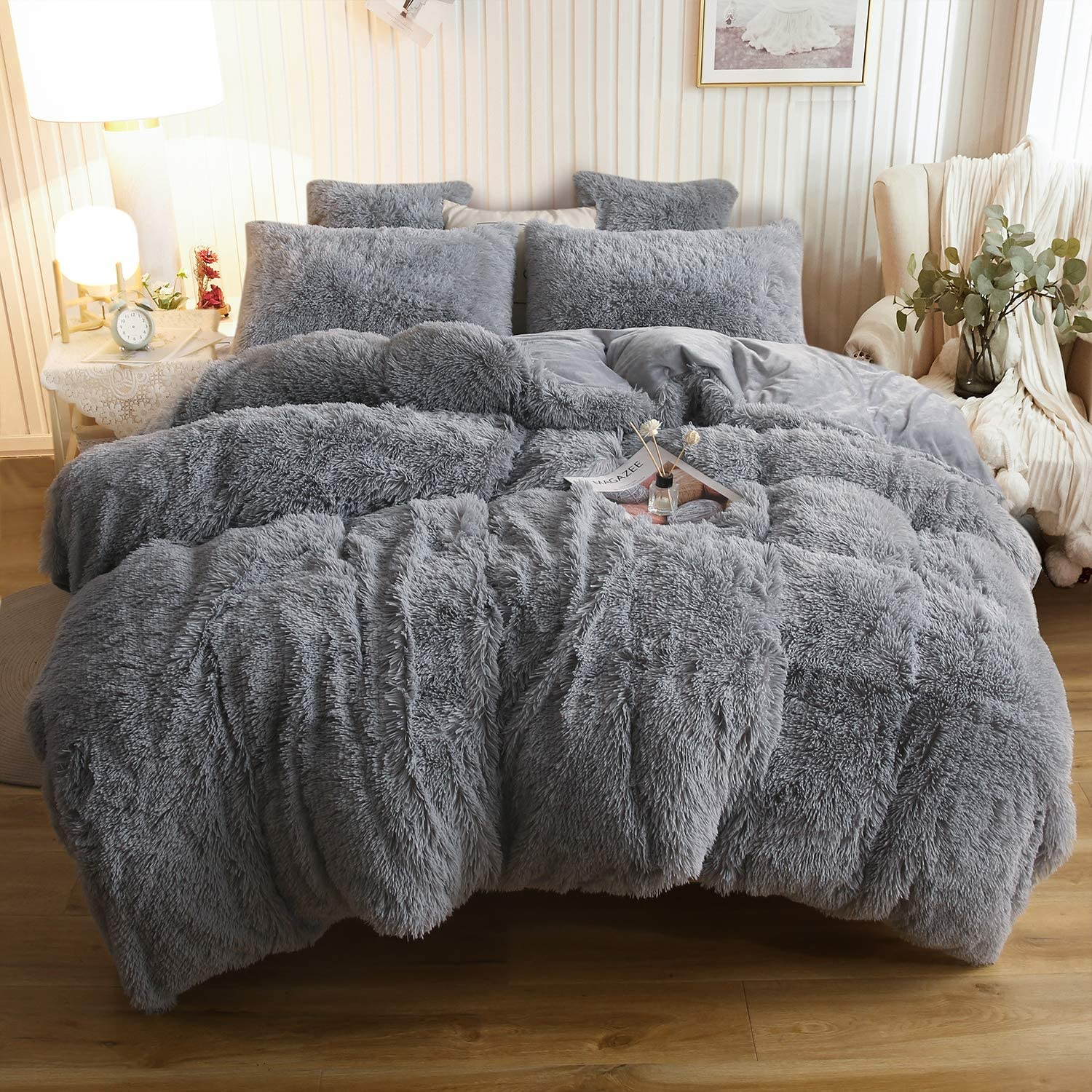 XeGe Plush Shaggy Duvet Cover Set