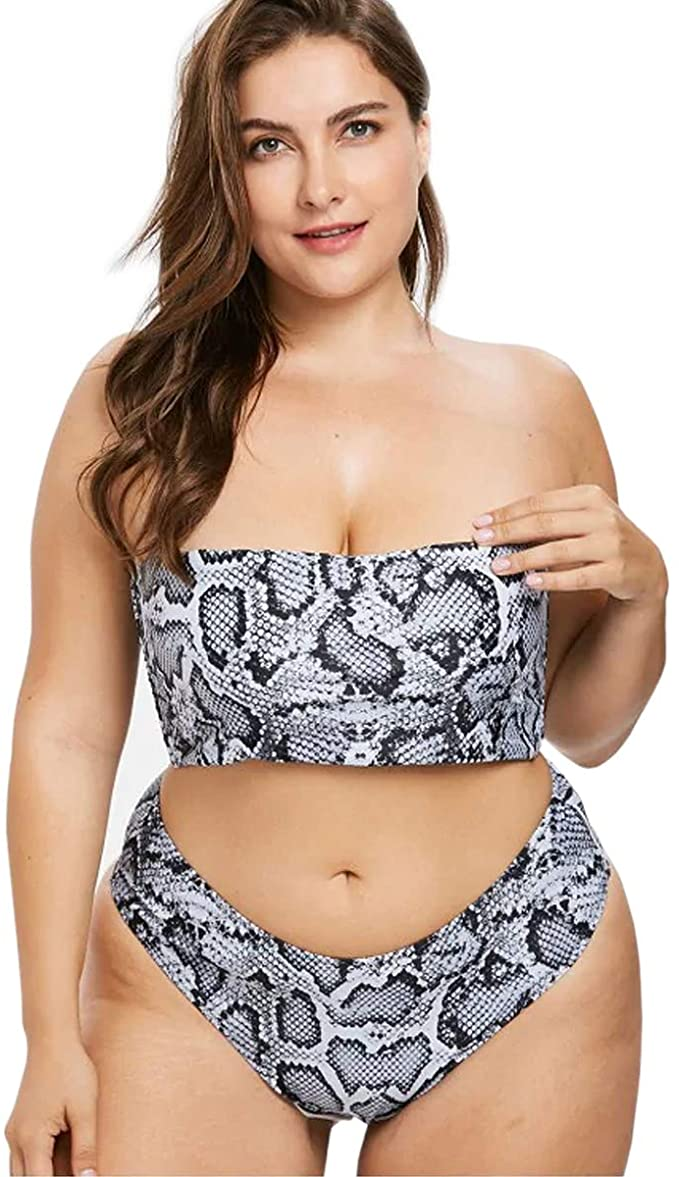 Yii Ooneey Snake Print High Cut Bikini