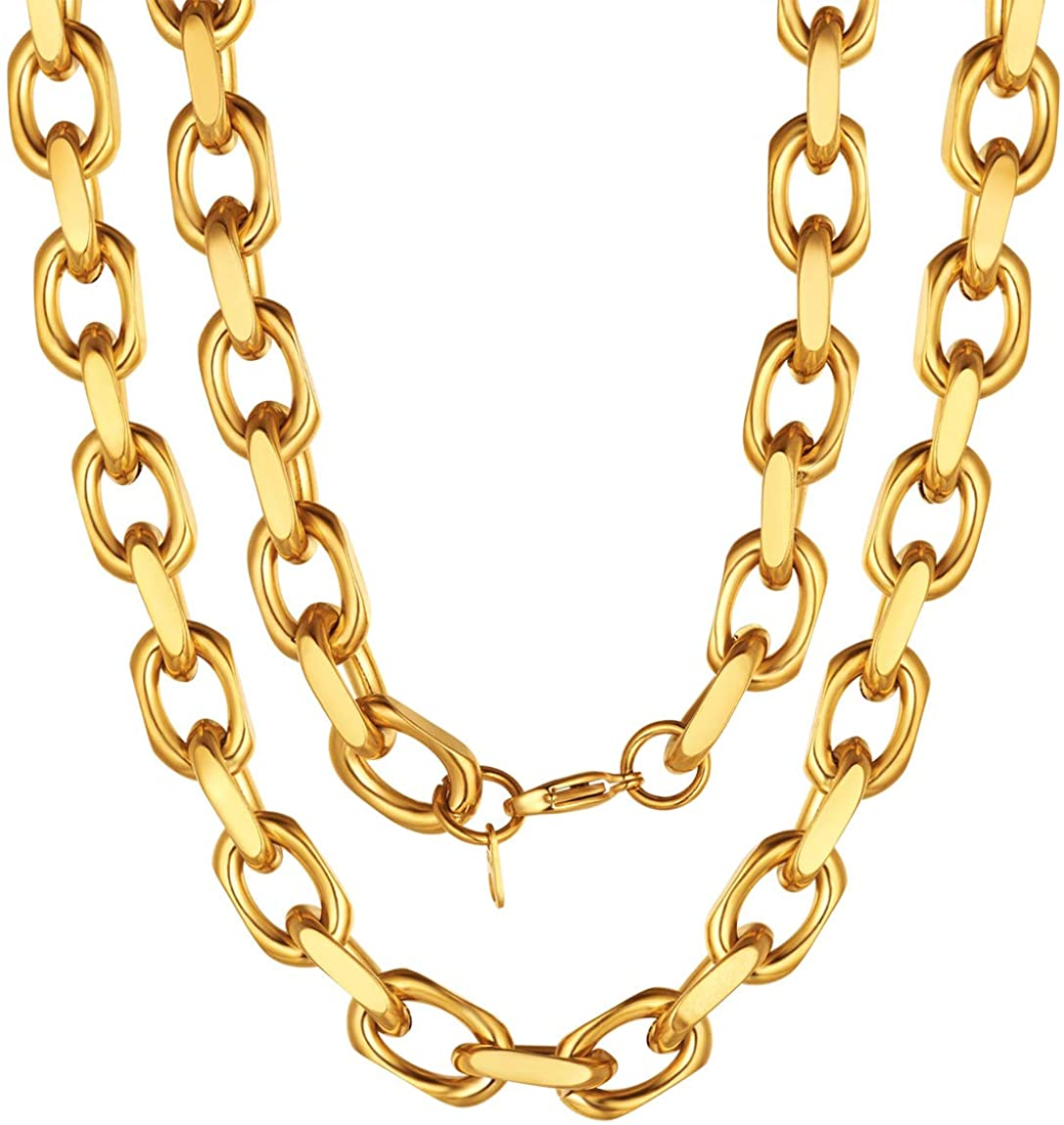 ChainsPro Heavy Duty Oval Rolo Cable Chain Necklace