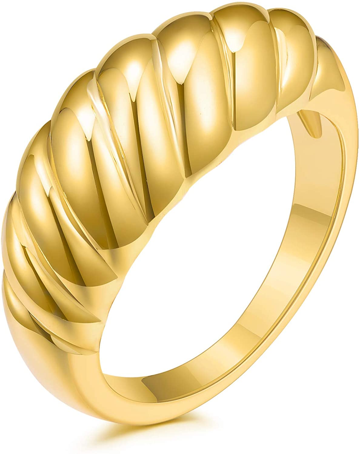 JINEAR 18k Gold Plated Croissant Braided Twisted Signet Chunky Dome Ring