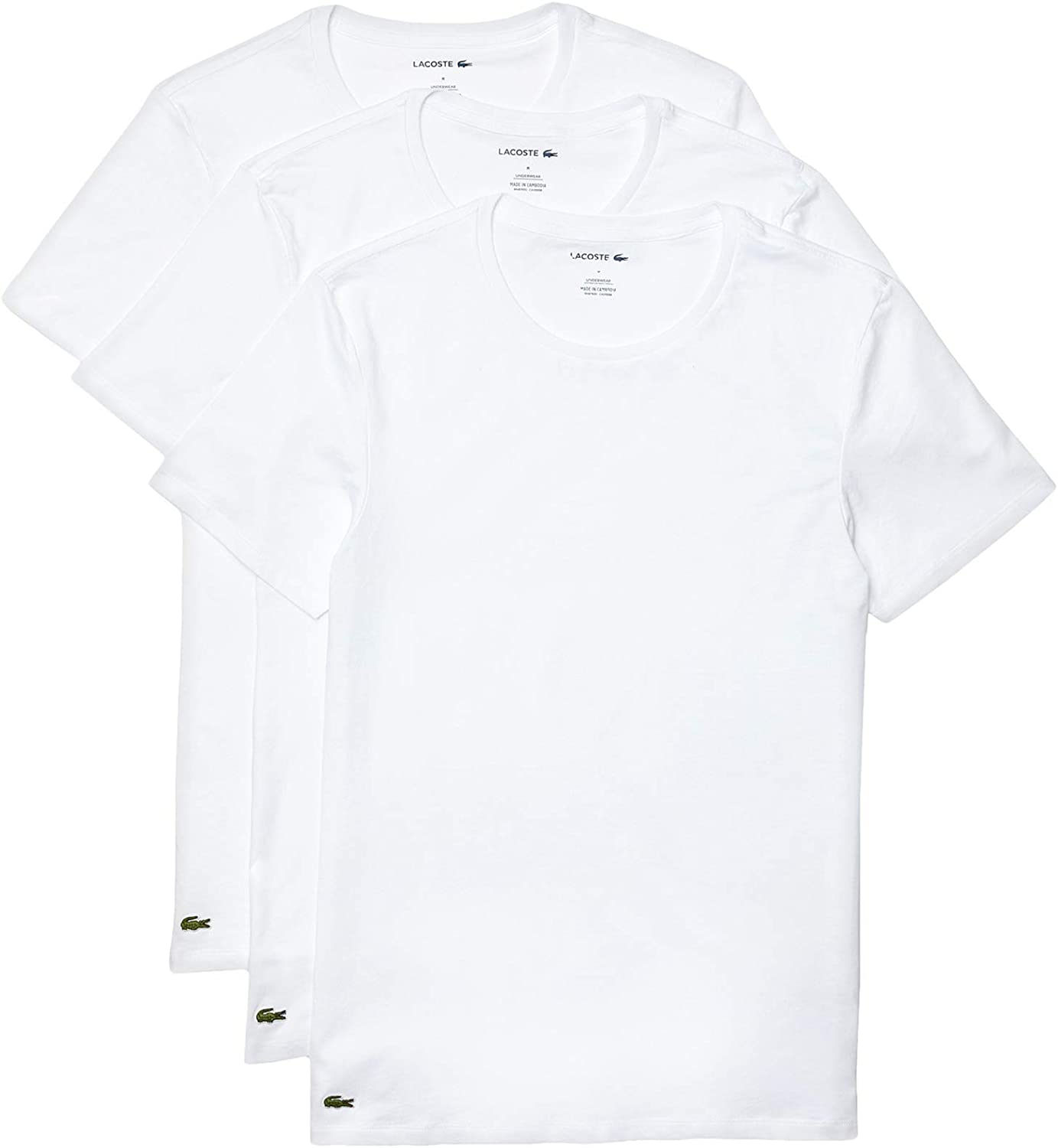 Lacoste Men's Essentials 3 Pack 100% Cotton Slim Fit Crew Neck T-Shirts