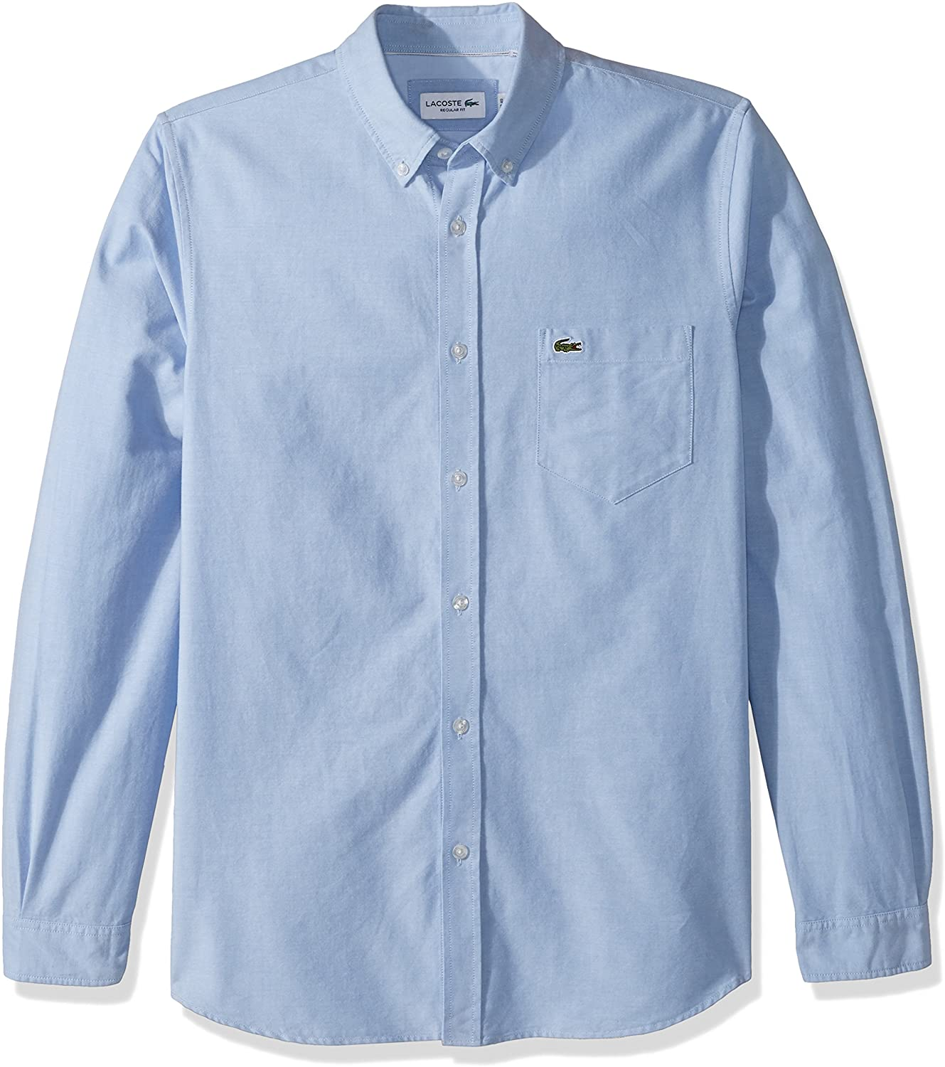 Lacoste Men's Long Sleeve Oxford Collar Regular Fit Woven Button Down Shirt