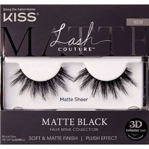 Kiss Lash Couture Matte Black Faux Mink, Matte Sheer