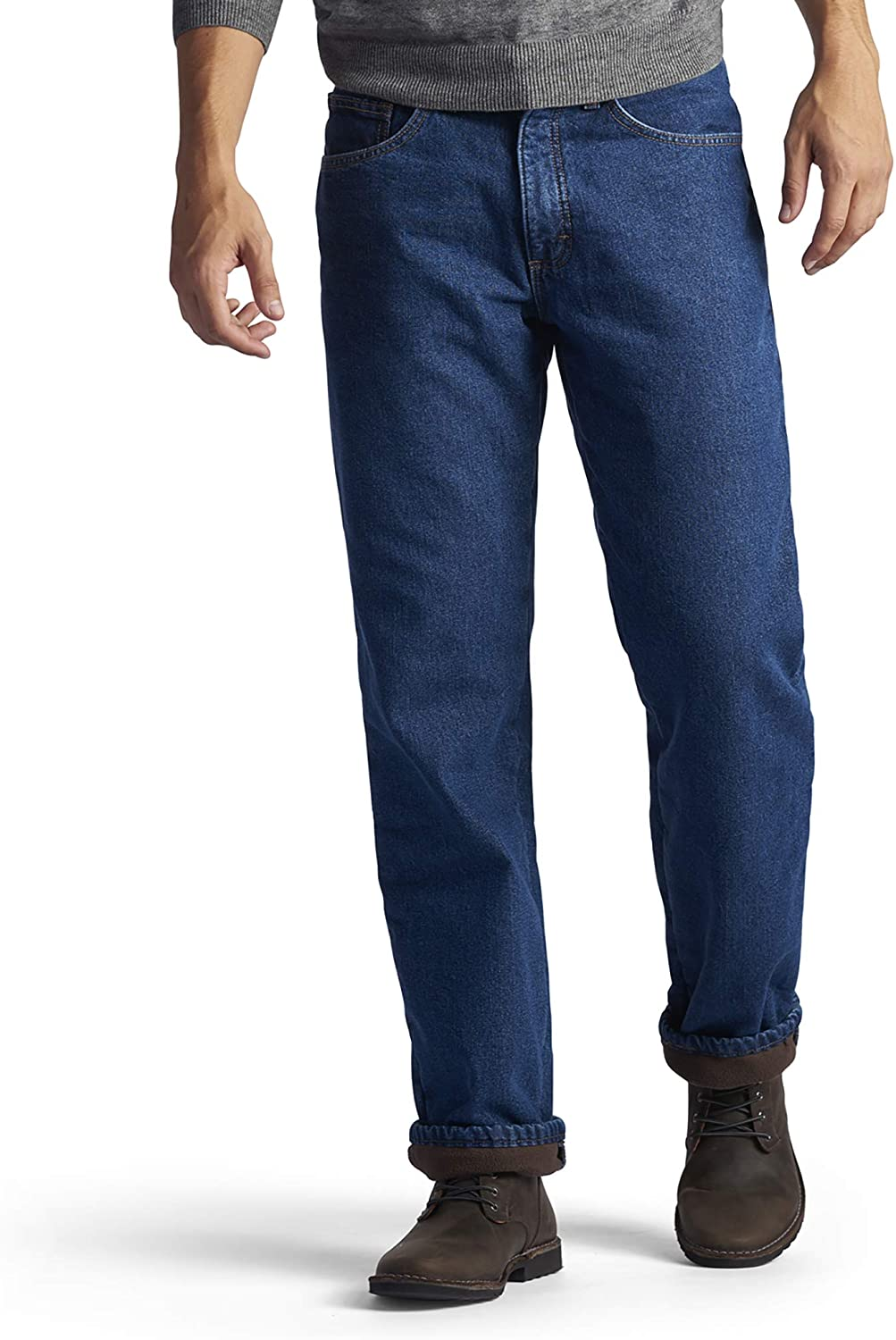 Lee Men's Fleece and Flannel Lined Relaxed-Fit Straight-Leg Jeans