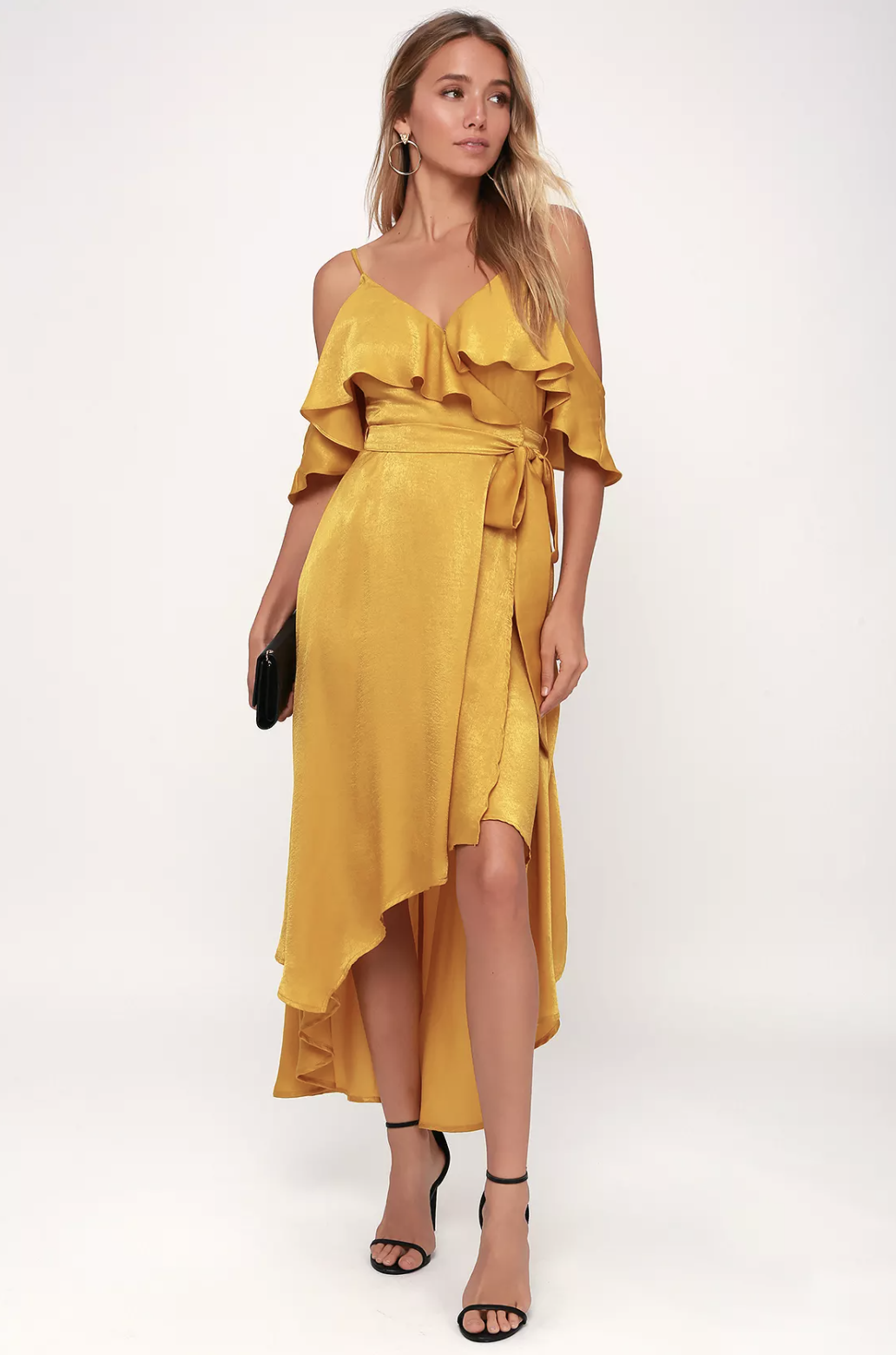 Lulus Layla Mustard Yellow Satin Off-the-Shoulder Wrap Dress