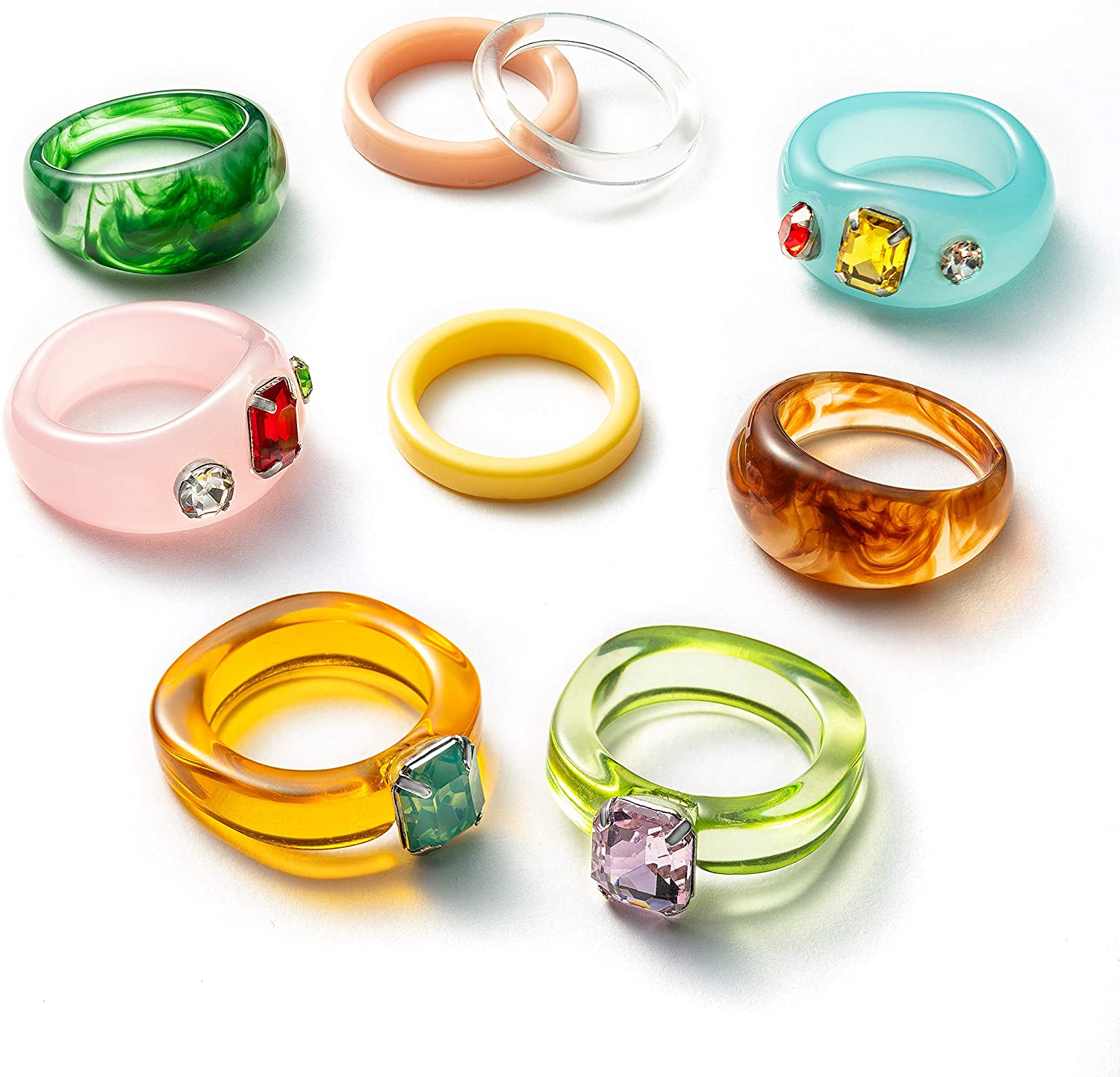 PANTIDE 9Pcs Retro Resin Acrylic Diamond Ring