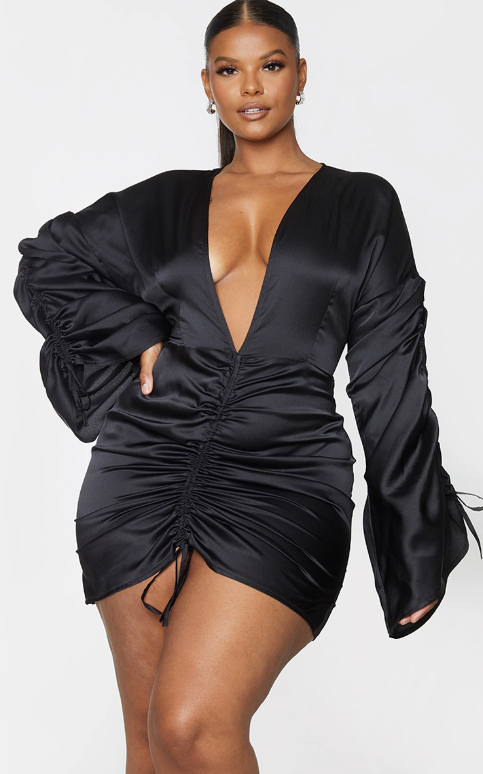 PrettyLittleThing Black Satin Plunged Ruched Front Dress