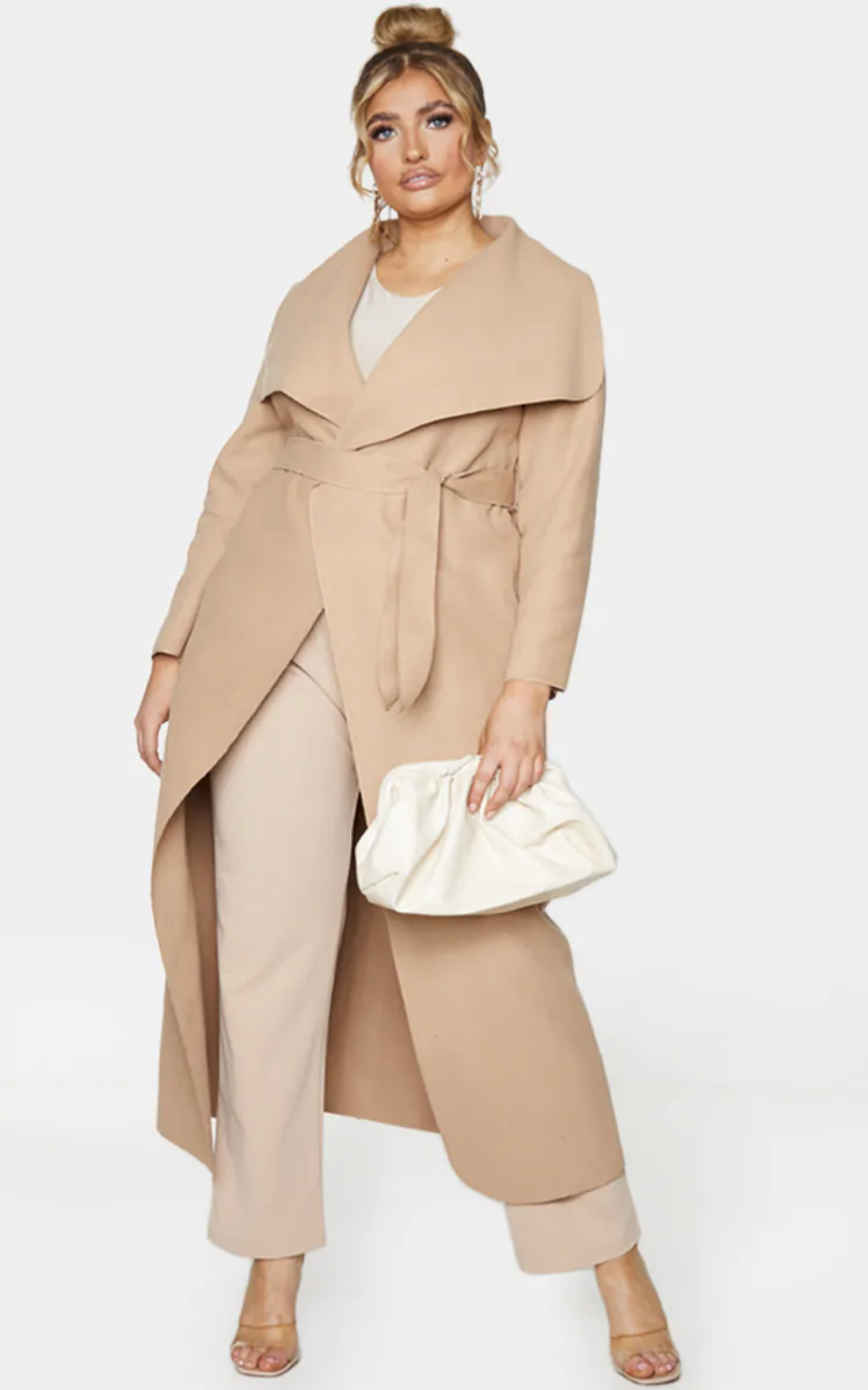 PrettyLittleThing Camel Maxi Oversized Waterfall Belted Coat