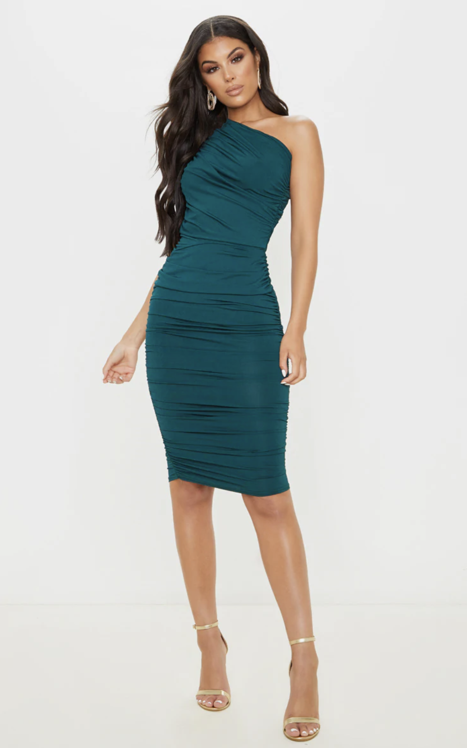 PrettyLittleThing Emerald Green Slinky Ruched One Shoulder Longline Midi Dress
