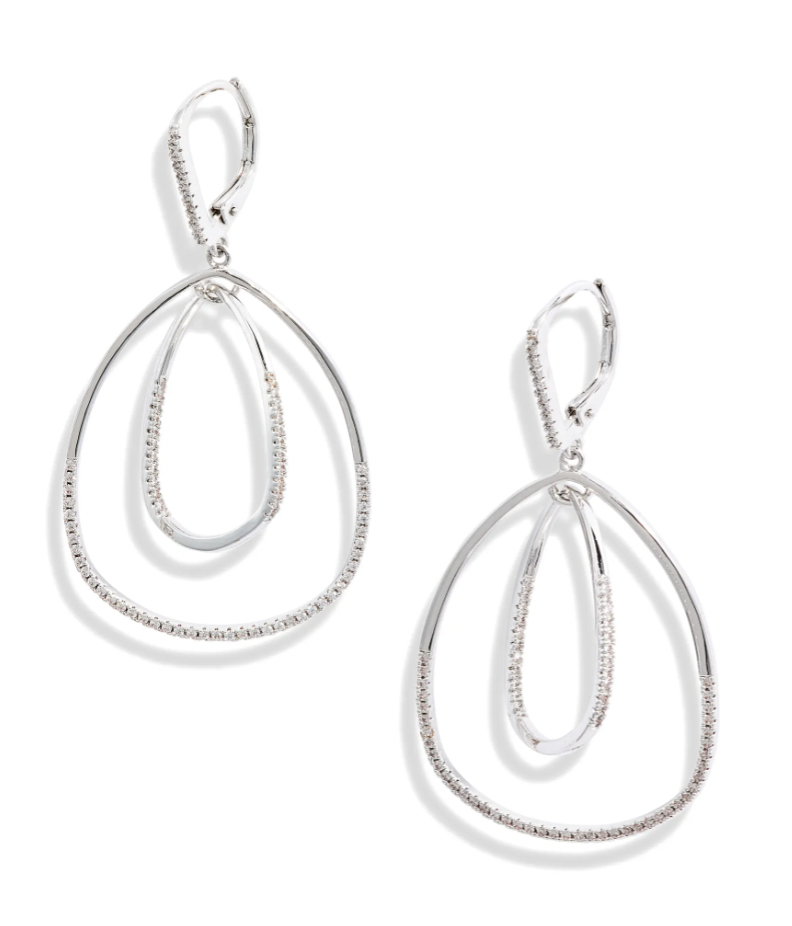 Nordstrom Pavé Inset Oval Orbital Earrings