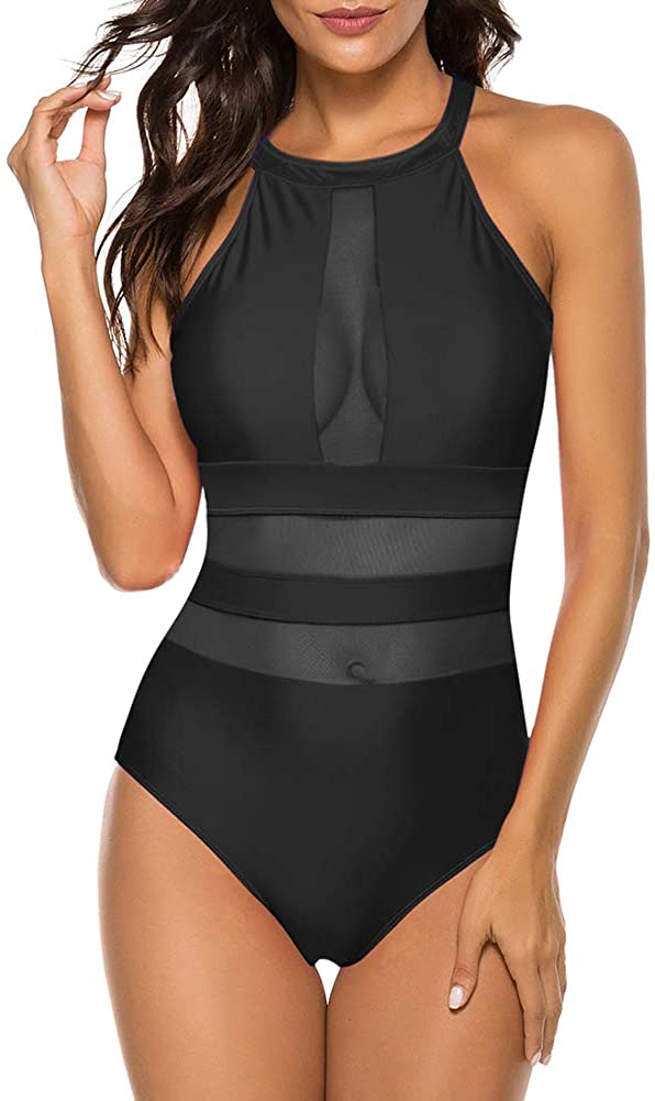 Urchics Womens One Piece High Neck Mesh Swimsuit
