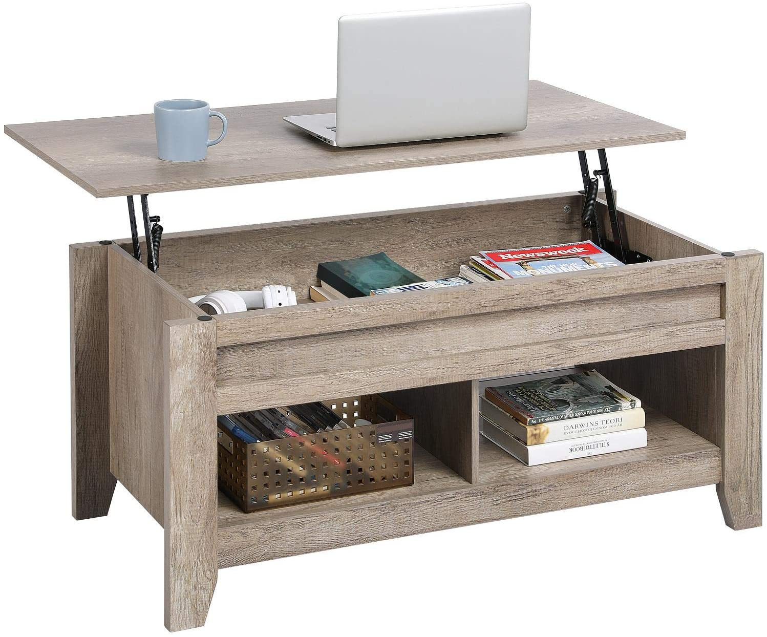 YAHEETECH Lift Top Coffee Table with Hidden Storage Compartment