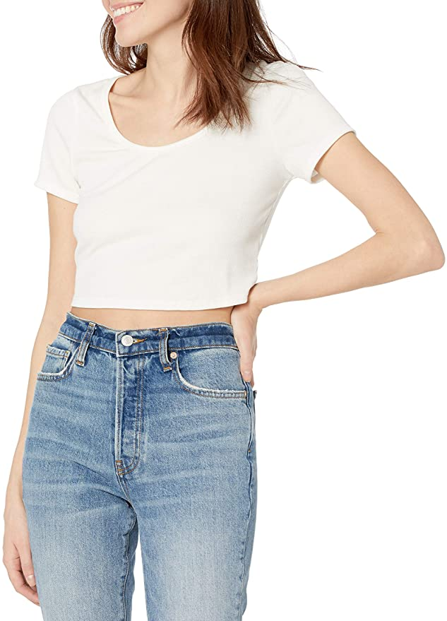 Wild Meadow Short Sleeve Scoop Neck Rib Knit Crop Top