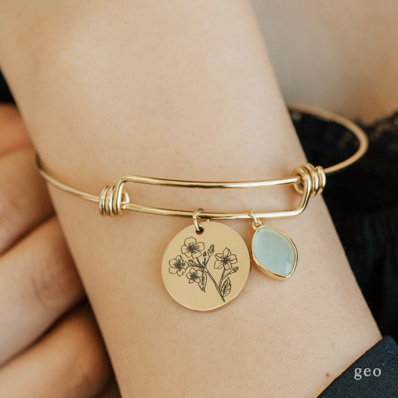 Personalized Floral Birthstone Bracelet