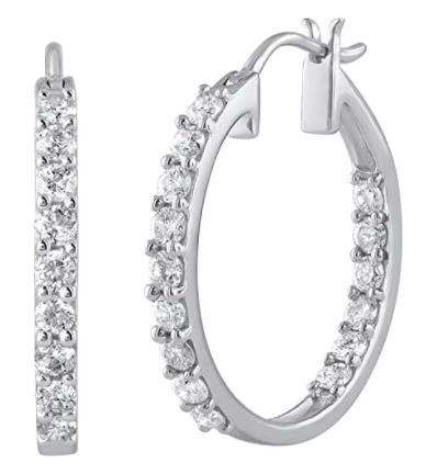 Finerock 1 Carat Diamond Inside Out Hoop Earrings in 10K Gold
